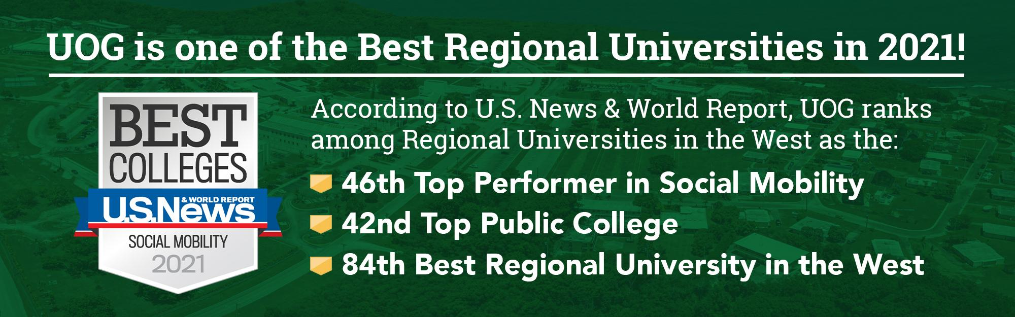 According to U.S. News and World Report, UOG ranks among Regional Universities in the West as the 46th top performer in social mobility, 42nd top public college, and 84th best regional university in the West.