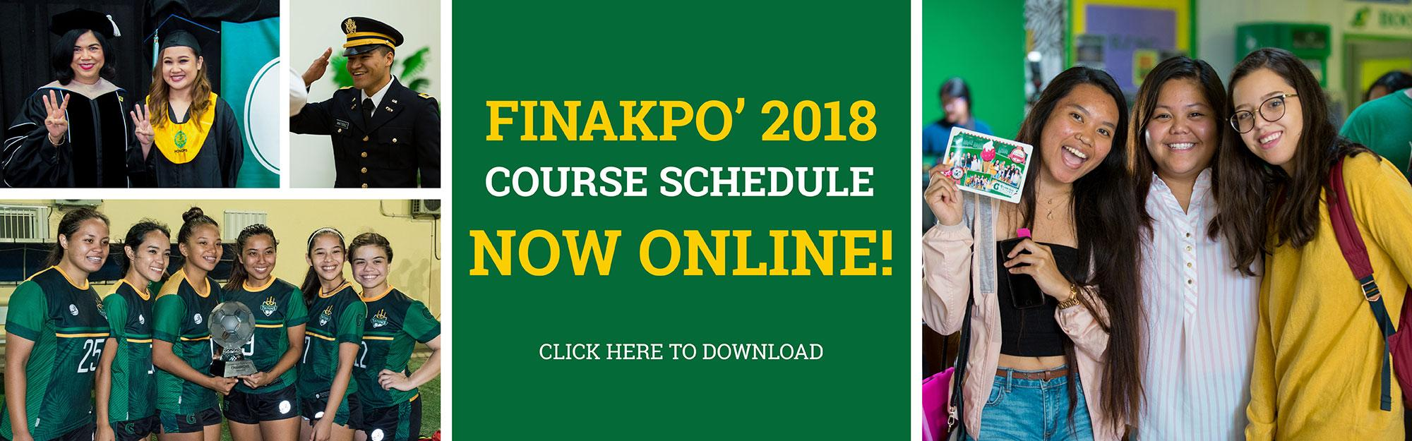 Finakpo 2018 Course Schedule