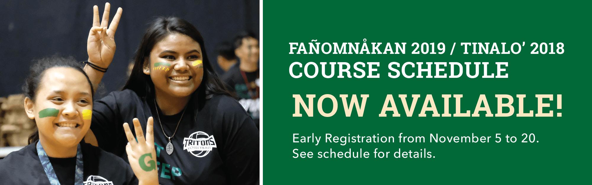 Fañomnåkan 2018 Course Schedule