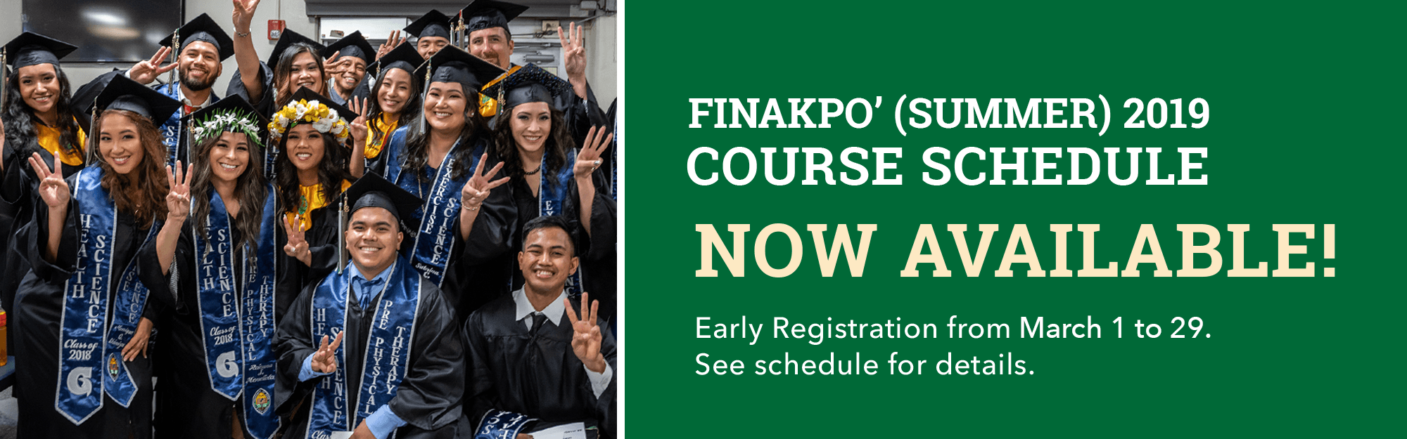 Finakpo' 2019 Course Schedule