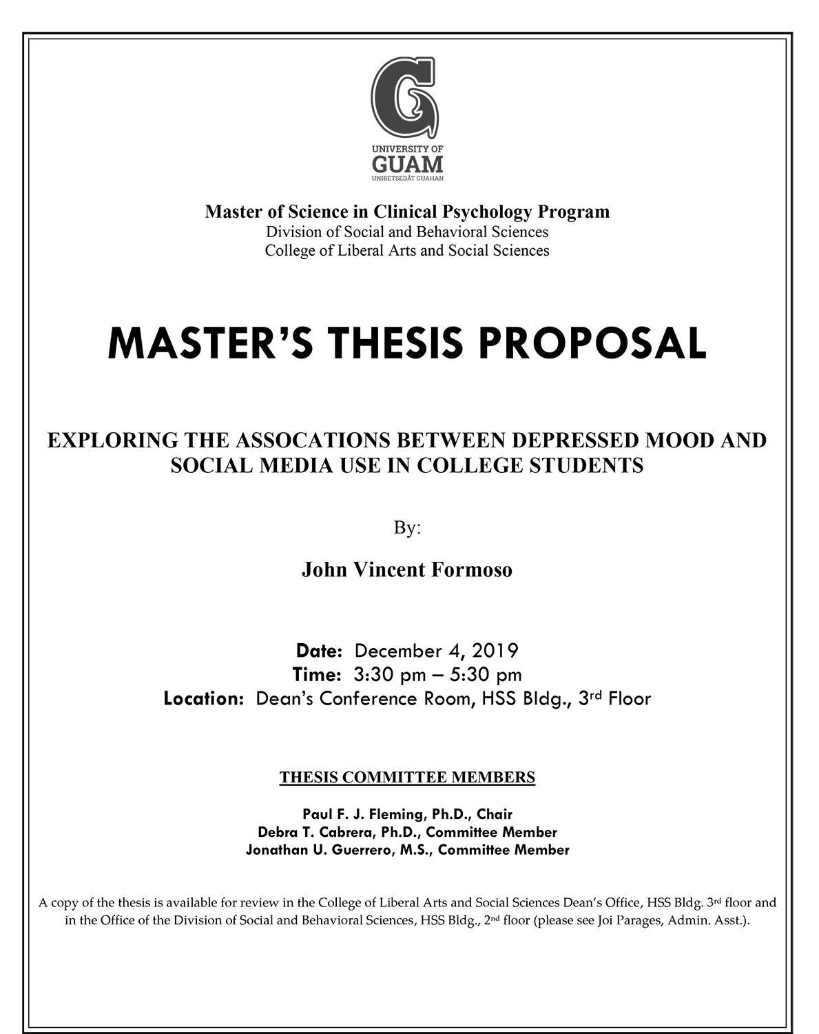 Thesis Proposal by John Formoso