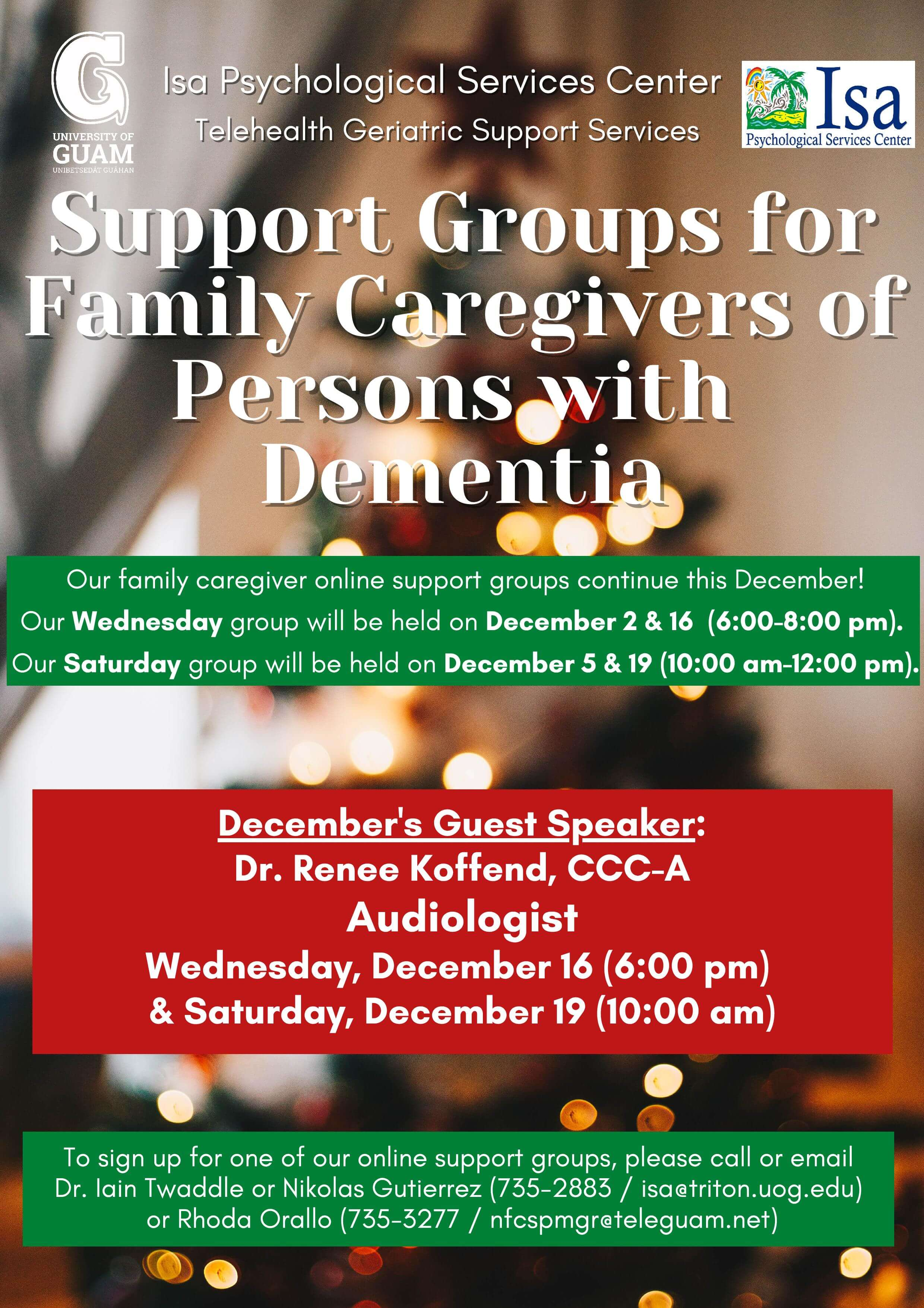 Support group for family caregivers of persons with dementia
