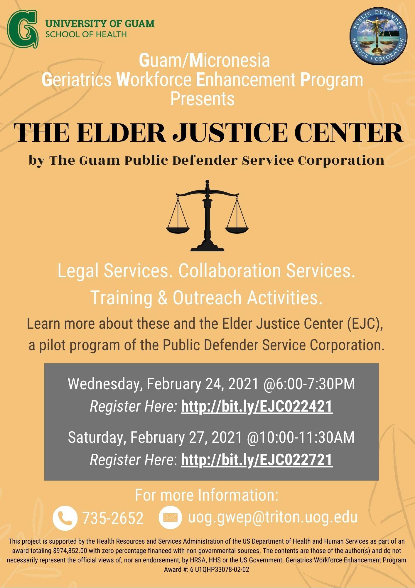 Virtual presentation: Legal services at the Elder Justice Center