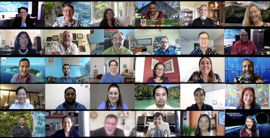 A collage of screenshots of speakers and moderators taken during weeks 1 to 5 the virtual conference series.