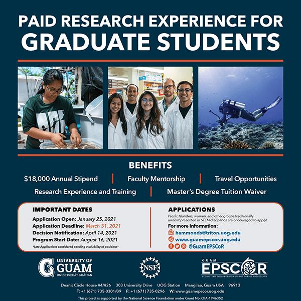 Deadline to apply for EPSCoR Graduate Research Assistantship