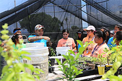 UOG Center for Island Sustainability Research Associate Raymond Shinohara shares a lesson on food security with high school students enrolled in UOG's Upward Bound program.