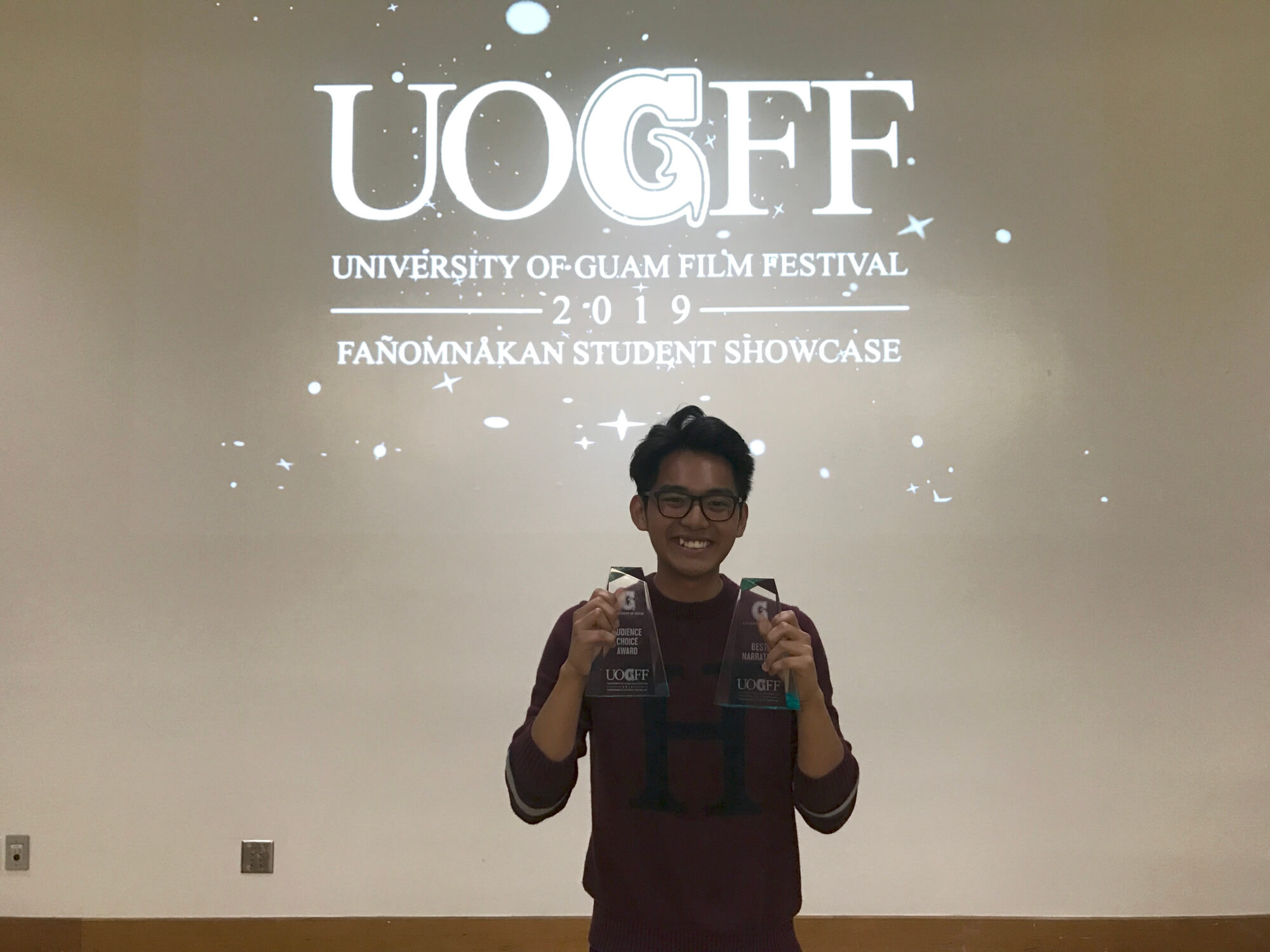 "UOG junior Keanno Fausto won Best Narrative and Audience Choice for his film, ""Left on Read."""