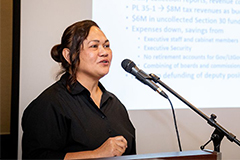 University of Guam Professor of Economics Maria Claret Ruane provided an economic update for business and government leaders over a luncheon on March 13 at the Hyatt Regency Guam.