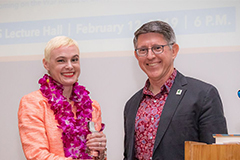 Inara Verzemnieks's spoke on her journey to discover her family's identity through exile resonated to an engaged audience at the 39th installment of the Presidential Lecture Series on Feb. 12.