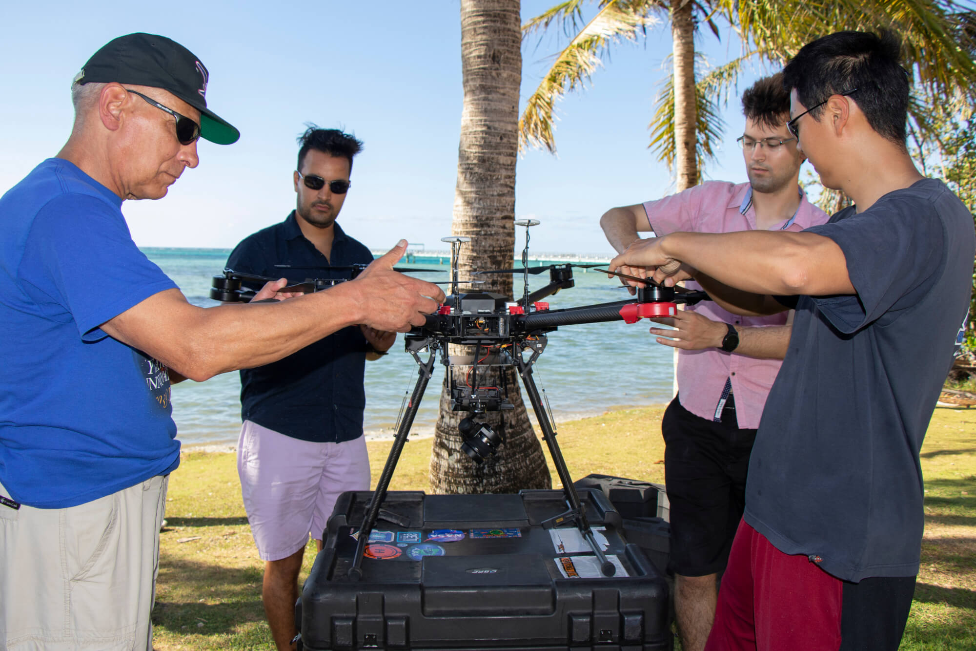 Members of the NASA Ames Laboratory set up an unmanned aerial vehicle