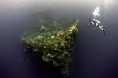 The bow of the 7,000-ton Fujikawa Maru shipwreck in Chuuk Lagoon