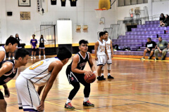 Dale Bautista sets up for a free throw shot