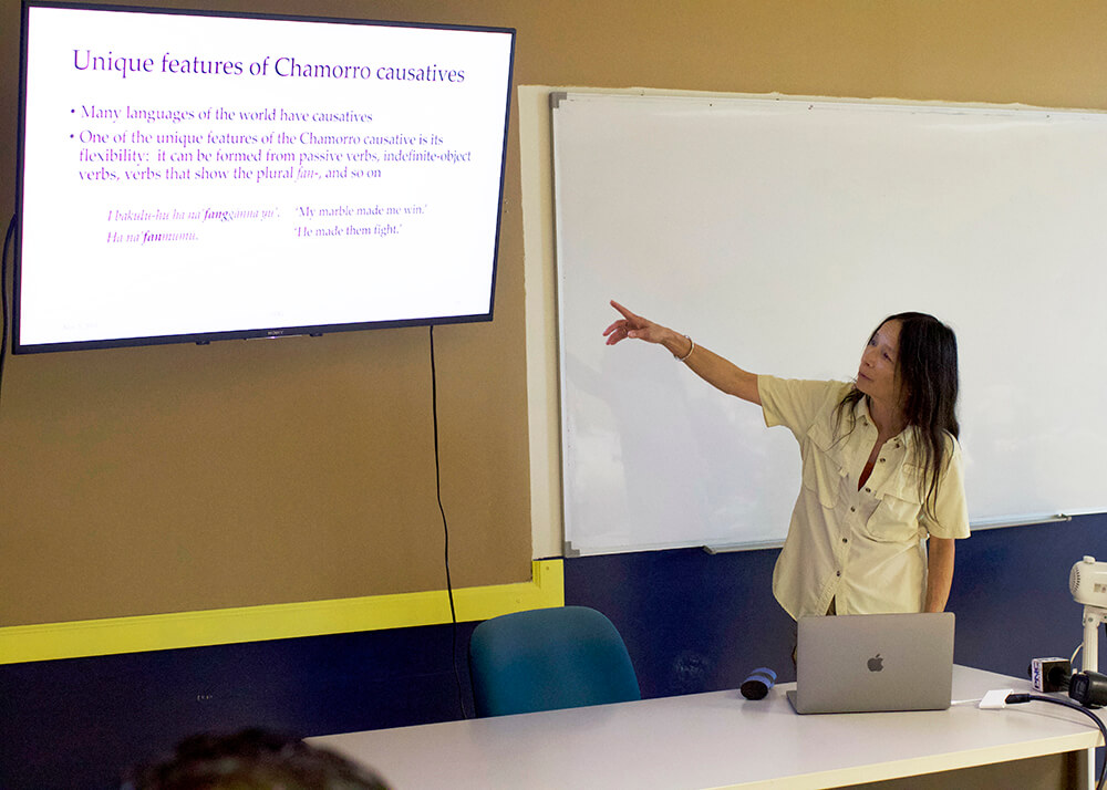 Linguist Sandra Chung explains causatives in the CHamoru language during a presentation on Nov. 5.