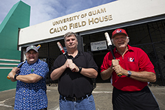 Photo of administrators of the Athletics department in front of Calvo Field House