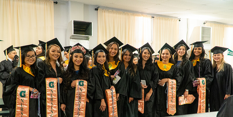 Class of 2019 nursing students at the University of Guam gather for a group photo just prior to their graduation in May 2019. All 31 UOG nursing students who graduated in 2019 passed their licensure exam on the first try with 29 of them now working as registered nurses in Guam. (From left) Shanna Mendoza, Athea Salas, Jenesis Vita, Veronica Sazon, Elizabeth Terry, Elijel Dorion, Rachelle Bumagat, Ma. Triziah Calingo, Ariane Sagun, Ashley Sigaoat, and Faesha Martin.