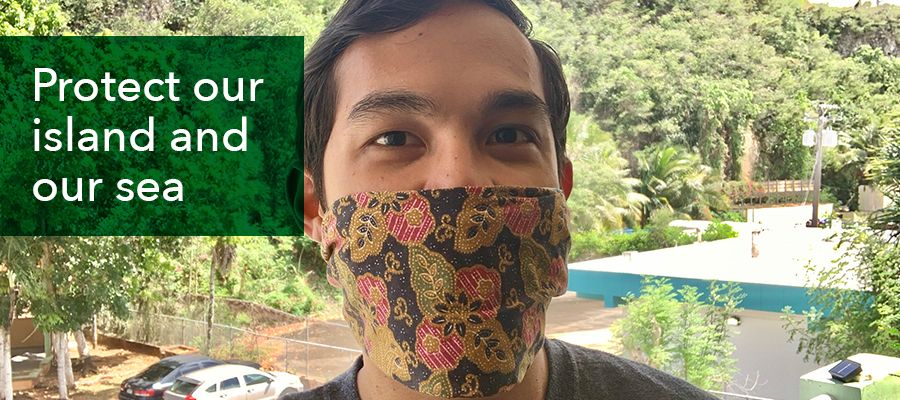 Photo of a guy wearing a hand made reusable face mask