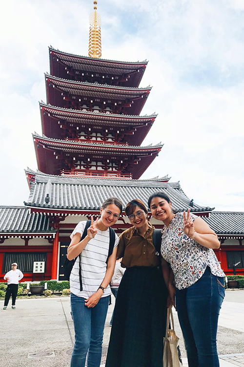 Tuazon, center, with Norwegian and American exchange student friends in Asakusa, Tokyo.