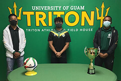 Jose Taimanglo, Head Coach Dylan Naputi, and Darren Smartt