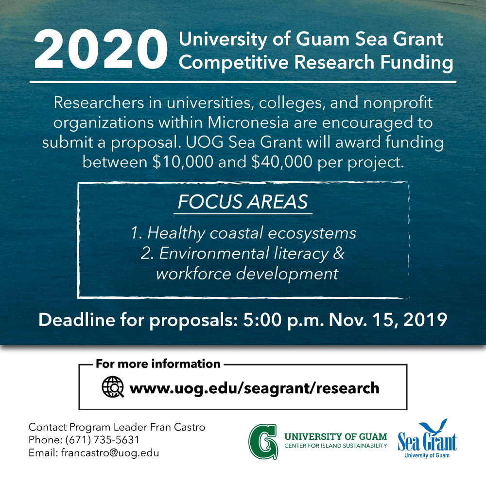 2020 UOG Sea Grant Competitive Research Funding Flyer