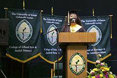 Photo of valedictorian giving a speech