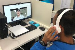 UOG student video chatting with Japanese student
