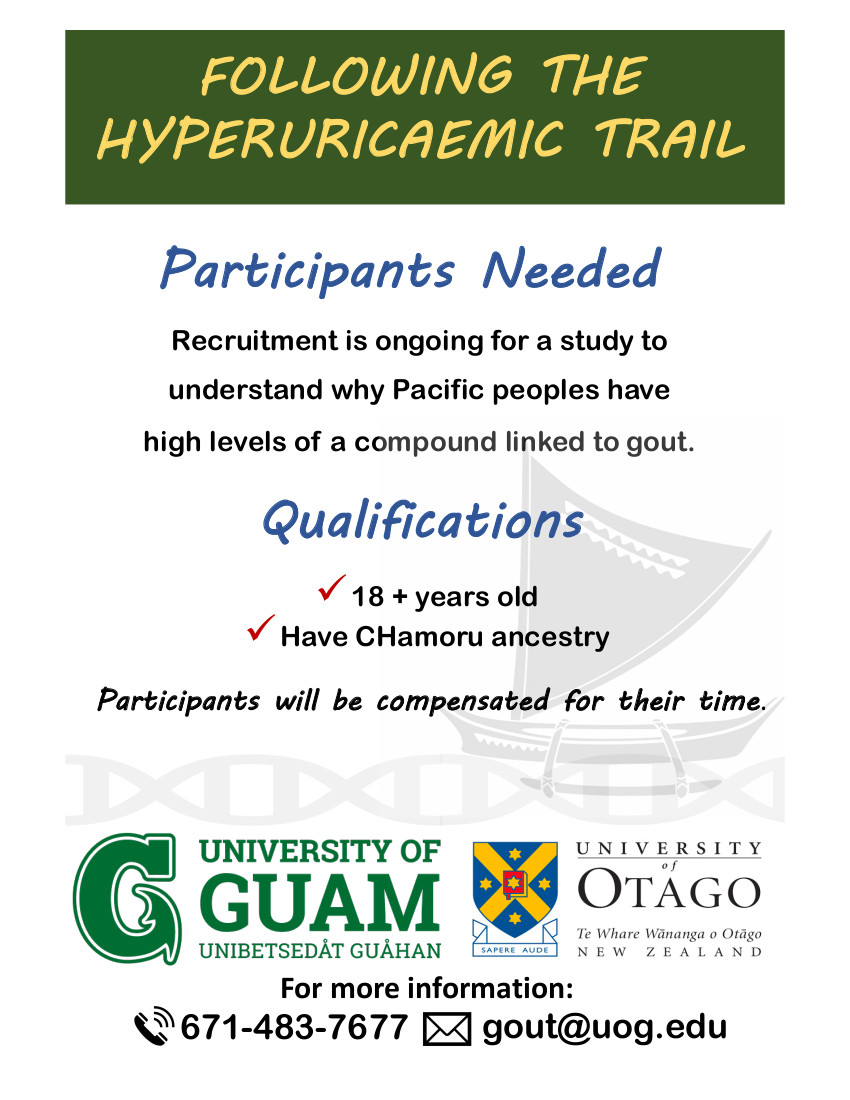 Participants of CHamoru ancestry needed for gout study