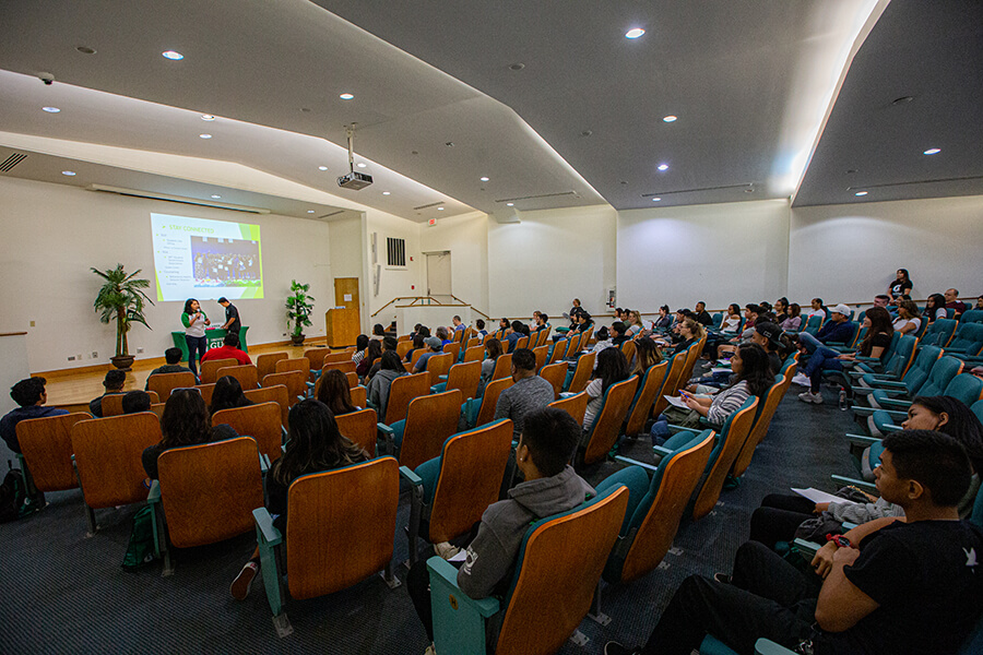 75 new UOG students listen during New Student Orientation on Jan. 16.