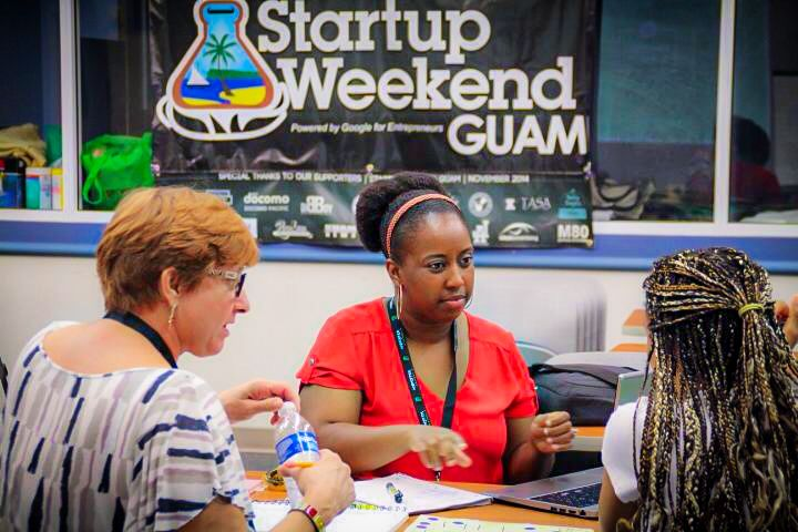 A team collaborates on their business pitch at last year's Startup Weekend Guam.