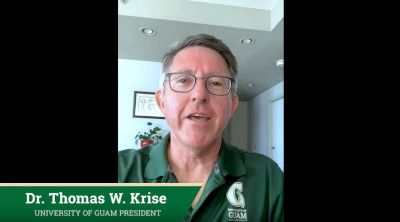 President Krise addresses the UOG community in a video message on April 15, 2020.