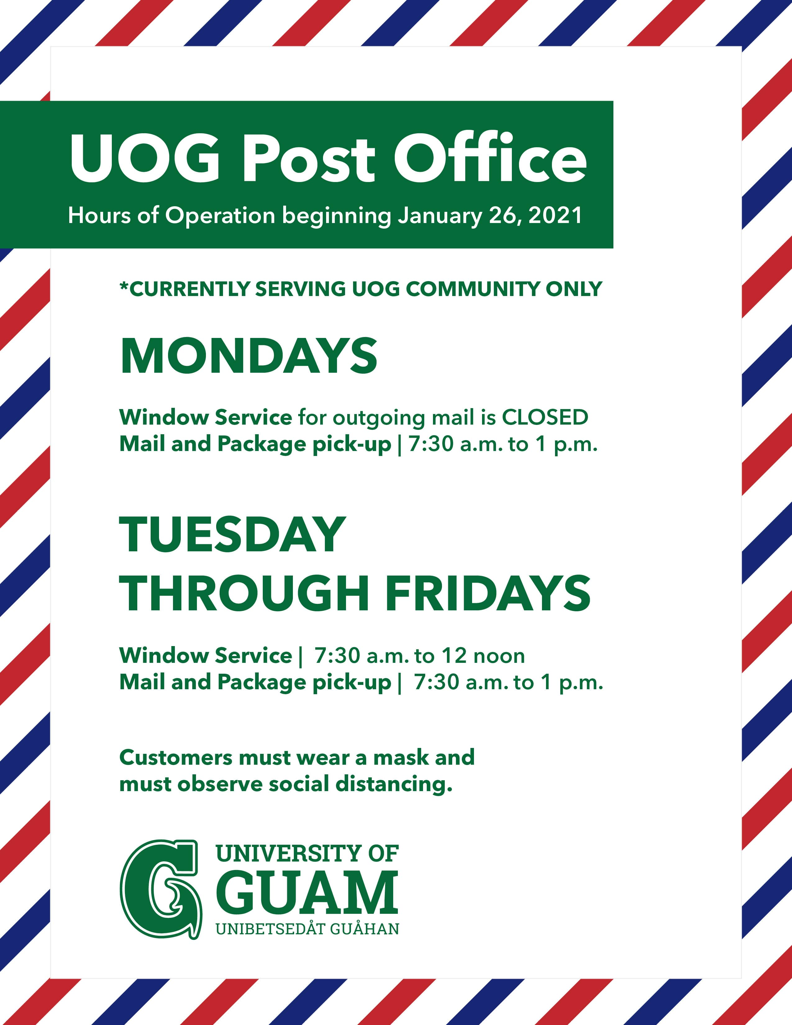 Post Office hours flyer. See text above for content.
