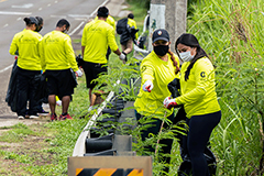 Photo of members of the G3 Conservation Corps conduct a roadside cleanup
