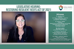 UOG Sea Grant's Fran Castro provided testimony in support of the Restoring Resilient Reefs Act.