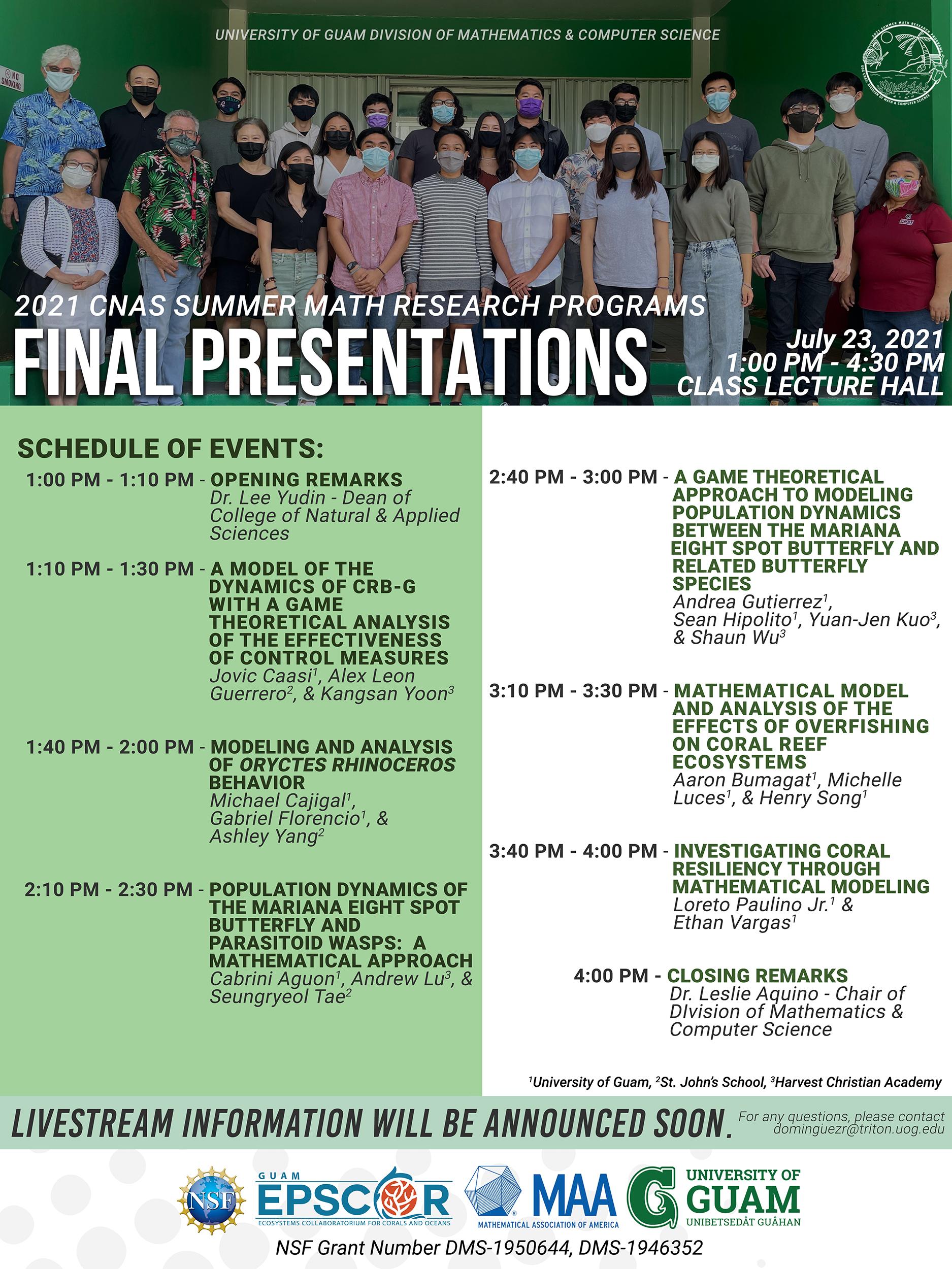 2021 CNAS Summer Math Research Programs Final Presentations