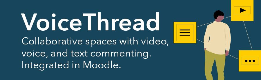 Graphic: VoiceThread allows collaborative spaces with vide, voice, and text commenting.