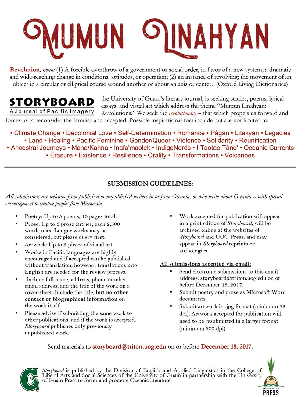 Call for submissions and guidelines for Storyboard Journal 2017