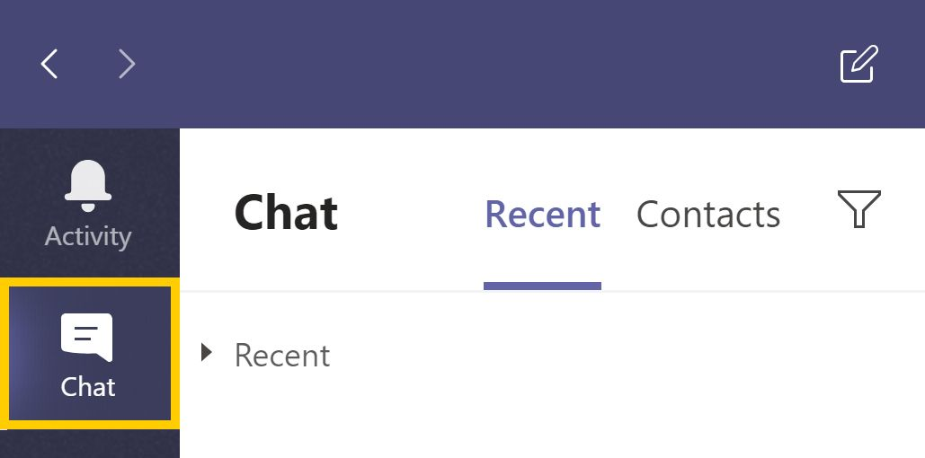 Screenshot of Microsoft Teams highlighting the Chat feature