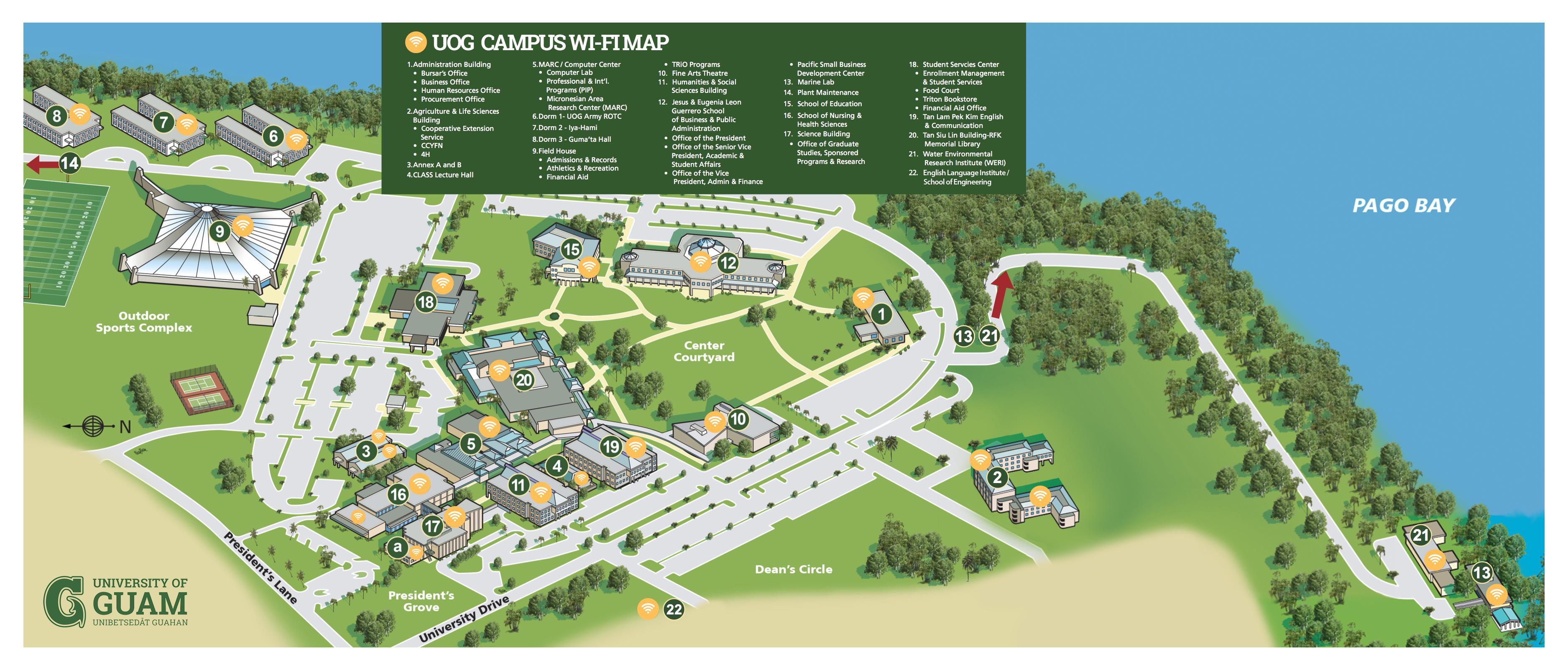 Wireless Map University Of Guam - Guam map